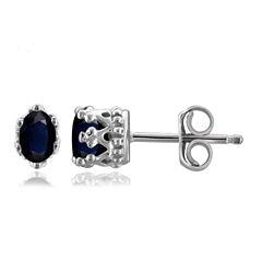 Oval Blue Sapphire Sterling Silver Stud Earrings