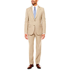 Stafford Travel Stretch Khaki Sharkskin Suit Separates- Classic Fit