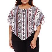 Alyx Short Sleeve Round Neck Woven Blouse-Plus