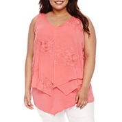 Alyx Sleeveless Floral Embroidered Woven Tank Top-Plus