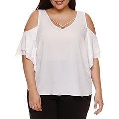 Bisou Bisou Short Sleeve Cold Shoulder V Neck Woven Blouse-Plus