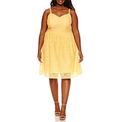 Ashley Nell Tipton for Boutique + Sleeveless Crochet Fit & Flare Dress-Plus