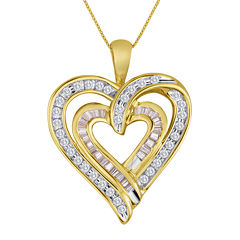 3/8 CT. T.W. Diamond 10K Yellow Gold Double-Heart Pendant Necklace
