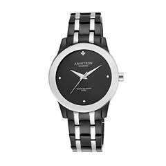 Armitron® Mens Black Diamond-Accent Bracelet Watch