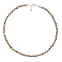 14K Gold Over Sterling Silver Tricolor Twisted Popcorn Necklace