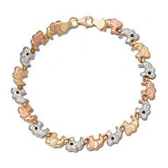 Tri-Color Crystal 14K Gold Over Sterling Silver Elephant Stampato Bracelet