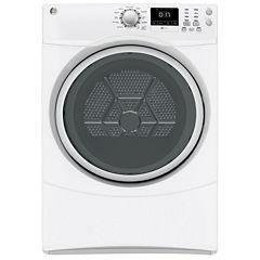 GE® 7.5 cu. ft. High-Efficiency Gas Dryer with Sensor Dry Silver Door