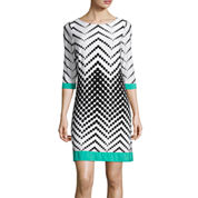 Studio 1® 3/4-Sleeve Chevron Dot Shift Dress