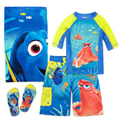Disney Collection Dory Boys Rash Guard, Trunks, Beach Towel or Flip-flops