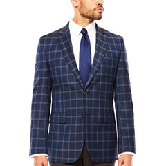 Stafford Year-Round Stretch Dark Blue Windowpane Sport Coat- Classic