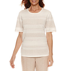 Alfred Dunner Short Sleeve Crew Neck Pullover Sweater
