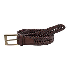 Dockers® Brown Leather V-Weave Belt–Big & Tall