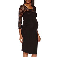Maternity 3/4-Sleeve Lace-Yoke Knit Dress - Plus
