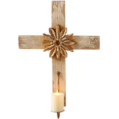 Embellished Cross Pillar Wall Sconce