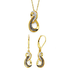 1/5 CT. T.W. White and Champagne Diamond Infinity Pendant & Earring Boxed Set