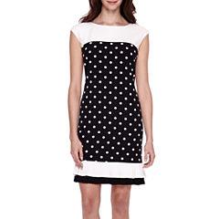 Studio 1® Sleeveless Polka Dot Sheath Dress - Petite