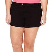 Arizona Cabo Mid-Rise Twill Shorty Shorts - Juniors Plus