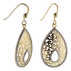 14K Gold Over Silver Textured Teardrop Earrings