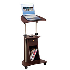 RTA Products LLC Techni Mobili Deluxe Rolling Adjustable Laptop Cart With Storage Desk