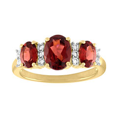 Womens Red Garnet Gold Over Silver 3-Stone Ring