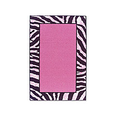 Tween Zebra Bordered Washable Rectangular Rug