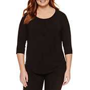 Liz Claiborne 3/4 Sleeve Crew Neck T-Shirt-Plus