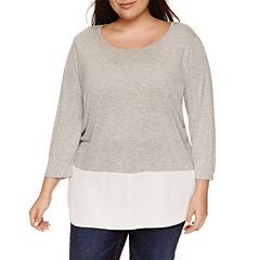 a.n.a 3/4 Sleeve V Neck T-Shirt-Plus