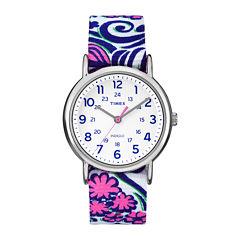 Timex® Womens Weekender Blue Swirl Reversible Strap Watch