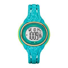 Timex® Womens Sleek Blue Floral 50 Lap Strap Watch