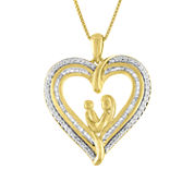 Womens 1/4 CT. T.W. White Diamond 14K Gold Over Silver Pendant Necklace