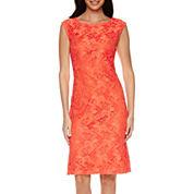 Black Label by Evan-Picone Cap-Sleeve Floral Lace Sheath Dress