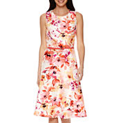 Black Label by Evan-Picone Seam Fit-and-Flare Belted Floral Dress