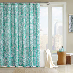 Madison Park Pandora Teal Floral Print Shower Curtain