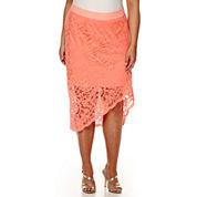 Bisou Bisou® Asymmetrical Lace Pencil Skirt - Plus