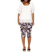 St. John's Bay® Eyelet-Edged Knit Poncho Shirt or Secretly Slender Twill Cropped Pants - Plus