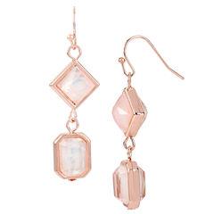 Worthington® Pink Stone Rose-Tone Earrings