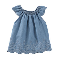 Oshkosh Chambray Cap Sleeve Top-Baby Girls