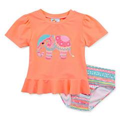 Baby Buns Pattern Rash Guard Set - Toddler