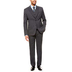 Stafford Travel Stretch Light Grey Check Suit Separates-Classic Fit
