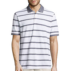 St. John's Bay Short Sleeve Stripe Pique Polo Shirt