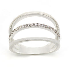 city x city® Cubic Zirconia Pure Silver-Plated Triple-Band Ring