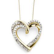 1/2 CT. T.W. Diamond 10K Yellow Gold Double-Heart Pendant Necklace