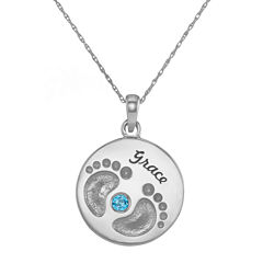 Personalized Sterling Silver Name and Birthstone Footprints Pendant Necklace