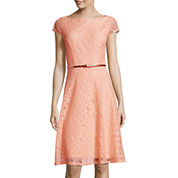 Black Label by Evan-Picone Cap-Sleeve Floral Lace Fit-and-Flare Dress