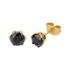 Black Cubic Zirconia 6mm Stainless Steel and Yellow IP Stud Earrings