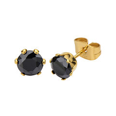 Black Cubic Zirconia 8mm Stainless Steel and Yellow IP Stud Earrings