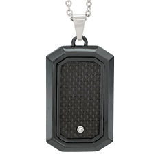 Mens Diamond Accent Black Stainless Steel Dog Tag Pendant Necklace