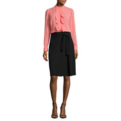 Worthington Long Sleeve Ruffle Button-Front Blouse and Belted Full Skirt