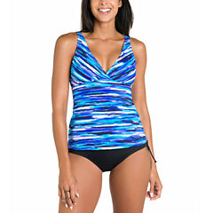 Jamaica Bay® Stripe Surplice V-Neck Tankini Swim Top or Board Shorts