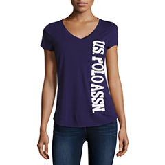 Us Polo Assn. Short Sleeve V Neck T-Shirt-Womens